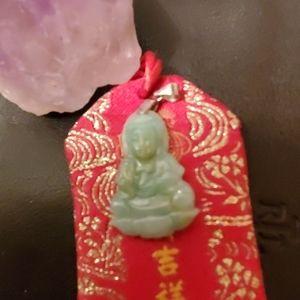 Genuine jade guan yin pendent